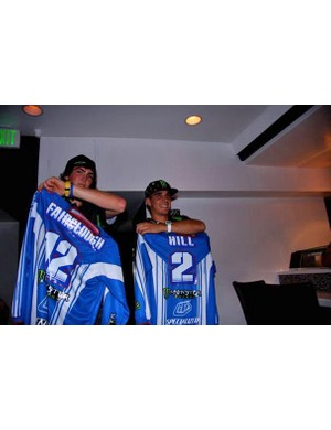 Brendan Fairclough and Sam Hill show off their new racing jersey