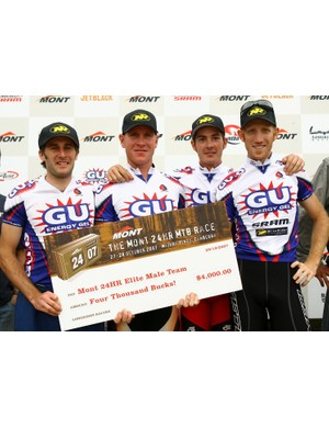 The winning elite men's team, Gu/SRAM/Niterider: Sid Taberlay, Chris Jongewaard, Brent Miller and Pe