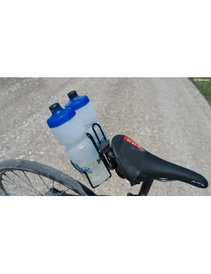 A smart solution for extra bottles, but ultimately flawed on gravel roads. I lost three bottles out of this thing despite elastic bands holding bottles in