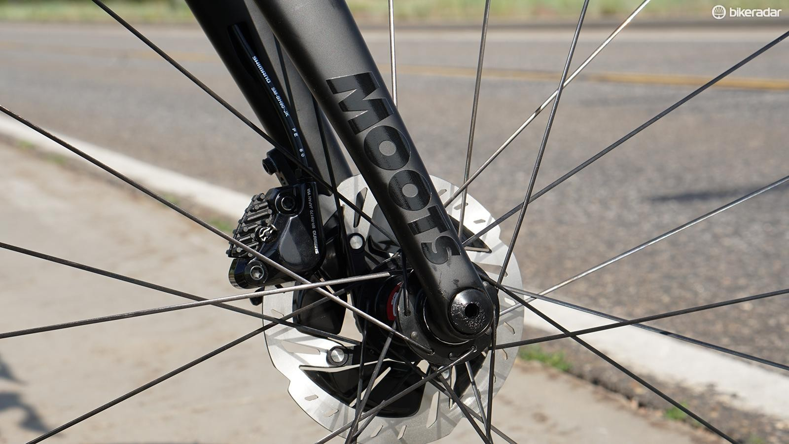 Thru-axles front and rear, which is now established as the standard for road disc bikes