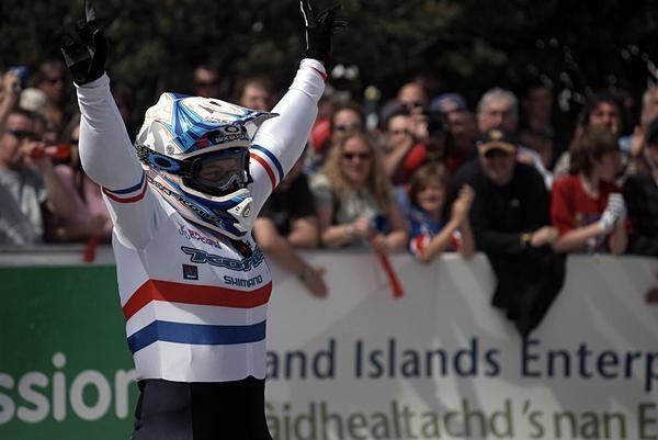 British downhill star Tracy Moseley won the Elite women's downhill World Cup in Fort William June 8, 2008.
