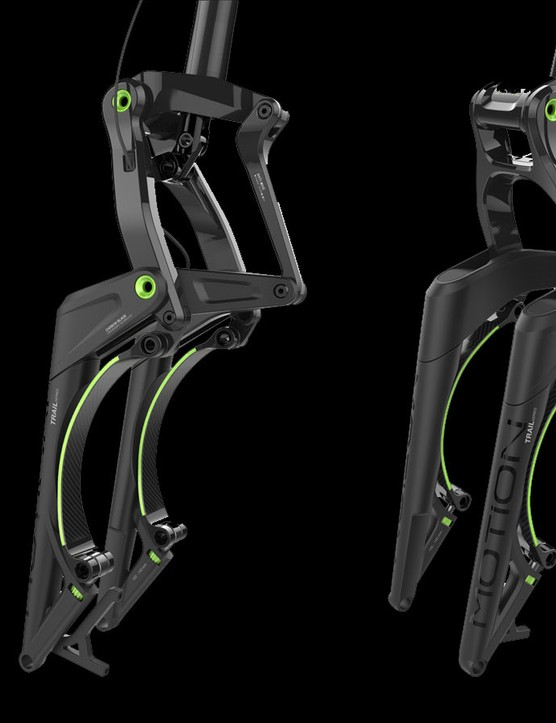 Motion France's Trail Series fork uses carbon leaf springs to absorb bumps, impacts and trail imperfections