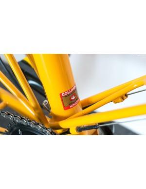 The bike is built with custom Columbus tubing