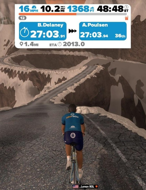 You don't need a smart trainer to use Zwift, but it definitely helps. On this rollercoaster section, for instance, you can coast downhill and then feel the road kick back up to a steep climb as the trainer adds resistance