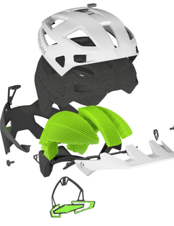 An exploded view of what makes up the Endura MT500 helmet