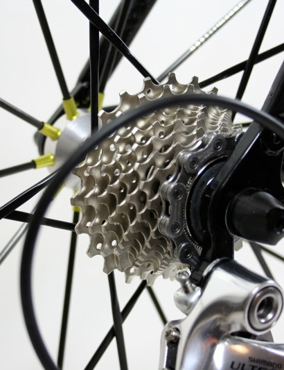 Museeuw provided an 11-23T, 10-speed Ultegra cassette which we fitted to our own test wheels
