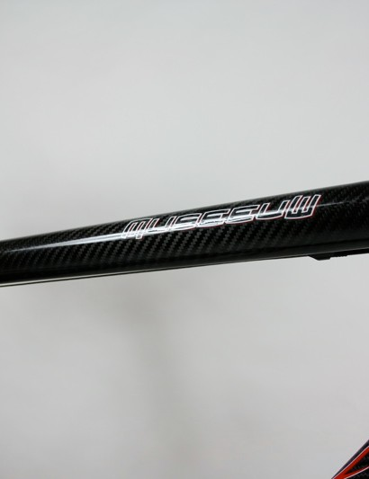 The tapered top tube maintains its teardrop shape throughout its length but narrows towards the seat tube joint