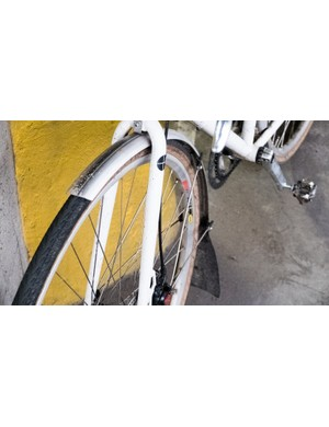 A well used set of SKS Chromoplastic mudguards embellished with a suitably ugly, custom mudflap