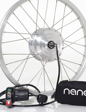 Various e-bike conversion kits are available for the Brompton, including this one from Nano Electric Bike