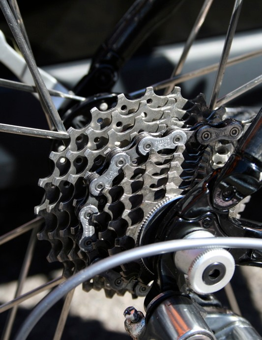 A Dura-Ace cassette with 12-23T sprockets is all Cooke needs here.