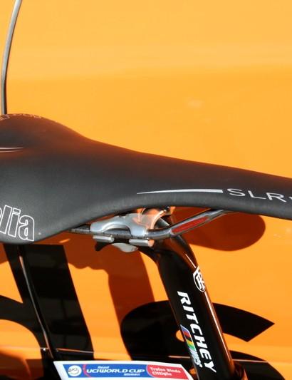Cooke's choice of saddle is a titanium railed Selle Italia SLR.