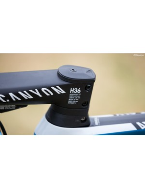 Canyon lists all the specs of its H36 bar/stem combo right there on the clamp