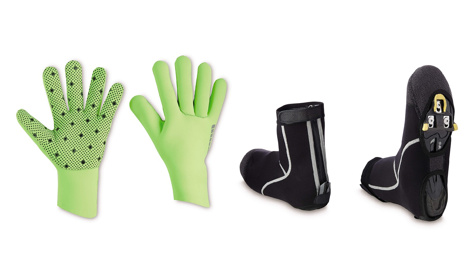 Neoprene gloves and shoe covers look very practical