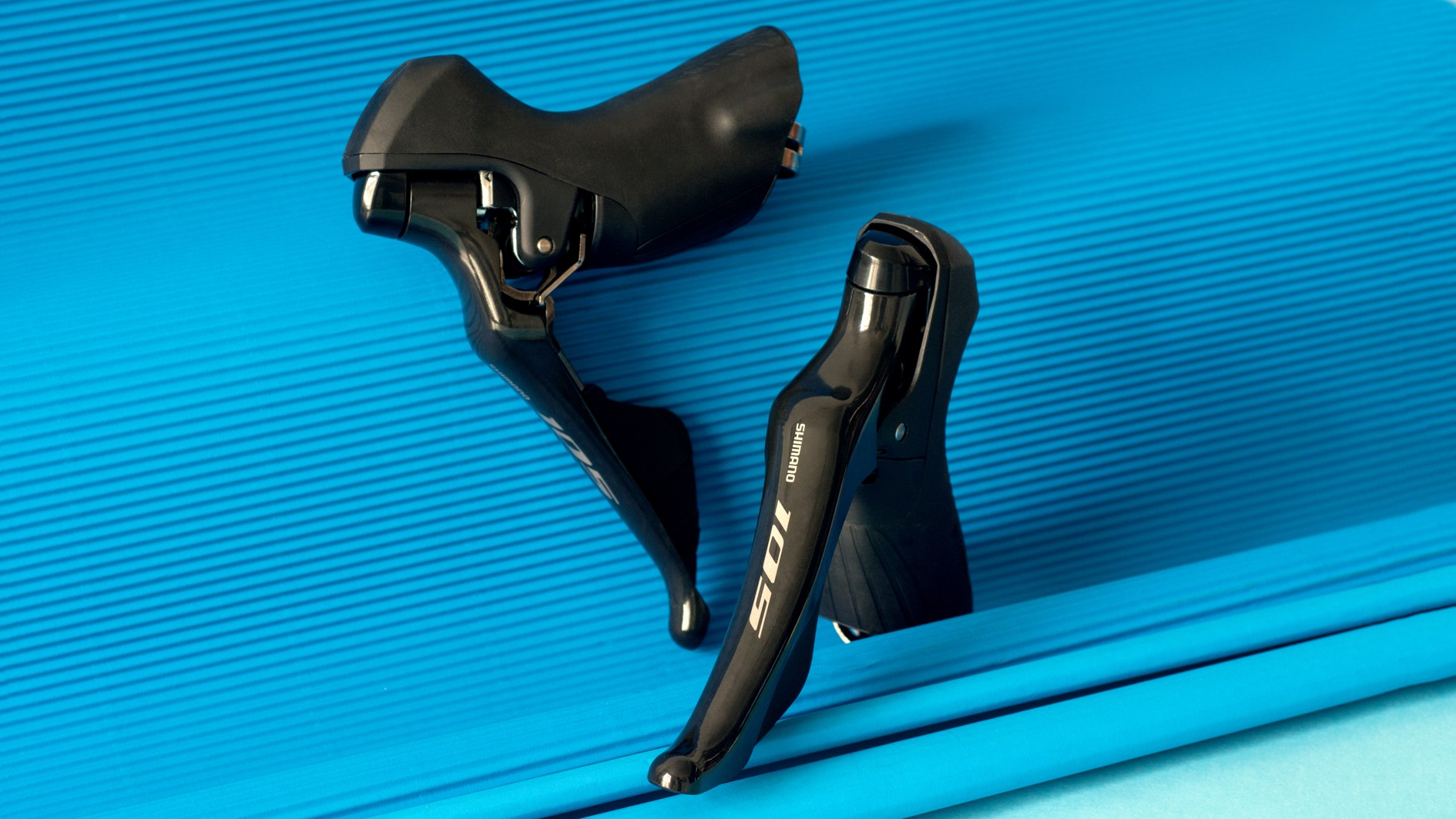 The new Shimano 105 shifters share the same shape as its updated Dura-Ace and Ultegra equivelants