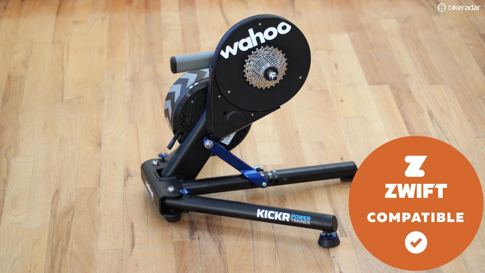 The redesigned Wahoo Kickr smart trainer measures power and controls resistance for use with training software such as TrainerRoad or virtual riding software such as Zwift