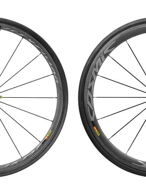 There are two new wheels, each in clincher and tubular, rim brake and disc: the Ksyrium Pro Carbon SL at left and the Cosmic Carbone Pro Carbon SL at right