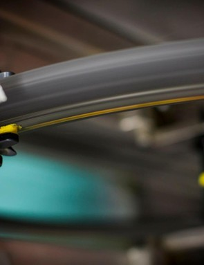 Mavic uses SwissStop Flash Pro pads. The new SwissStop Black Prince pads are being spec'ed by some wheel makers, but Mavic prefers the relatively softer yellow compound