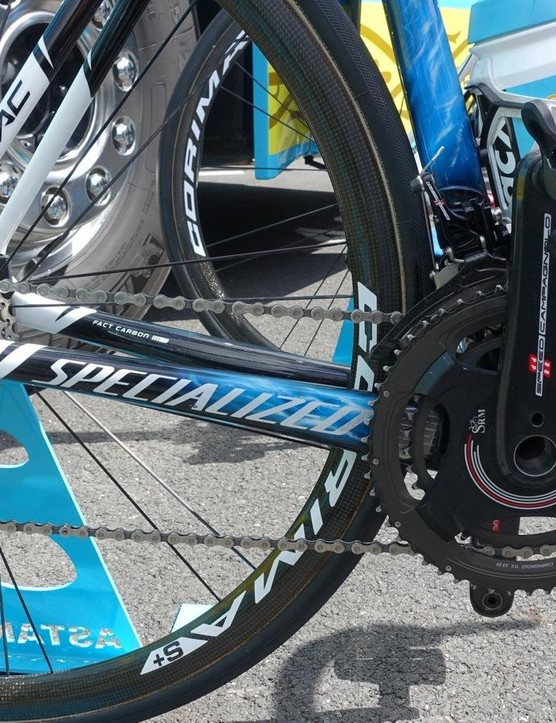 Nibali's SRM power meter integrates smoothly with the Campagnolo Super Record crank
