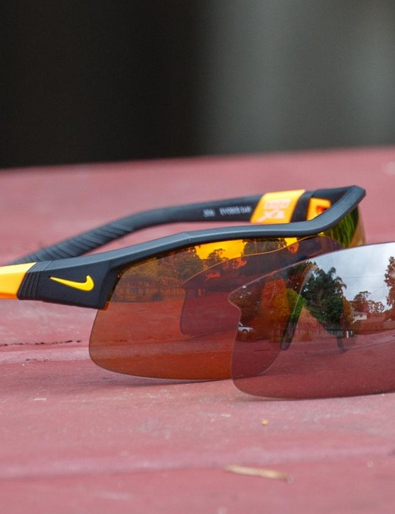The Nike Show X1 glasses come with a second lens and a soft storage bag (which doubles as a wipe)