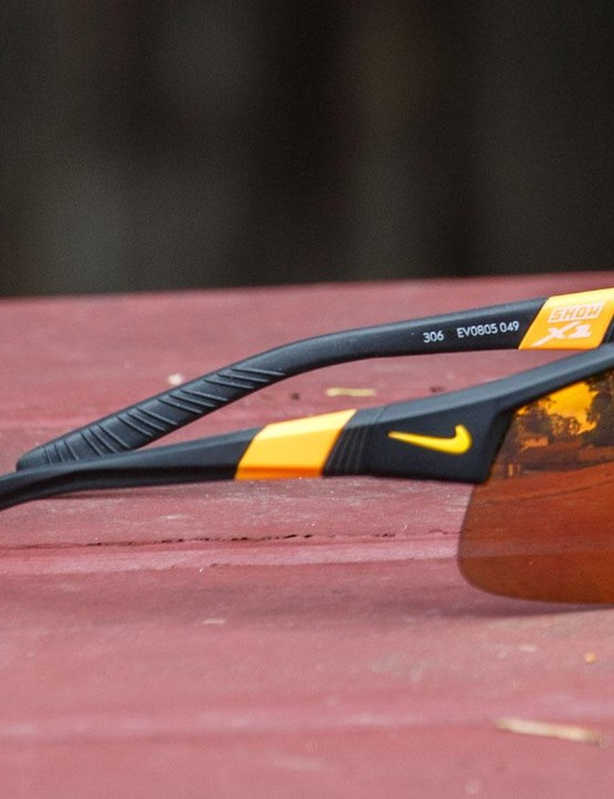 Our sample (pictured) was the Matte Black and Laser Orange (049). Note the textured temple tips that can be bent to shape
