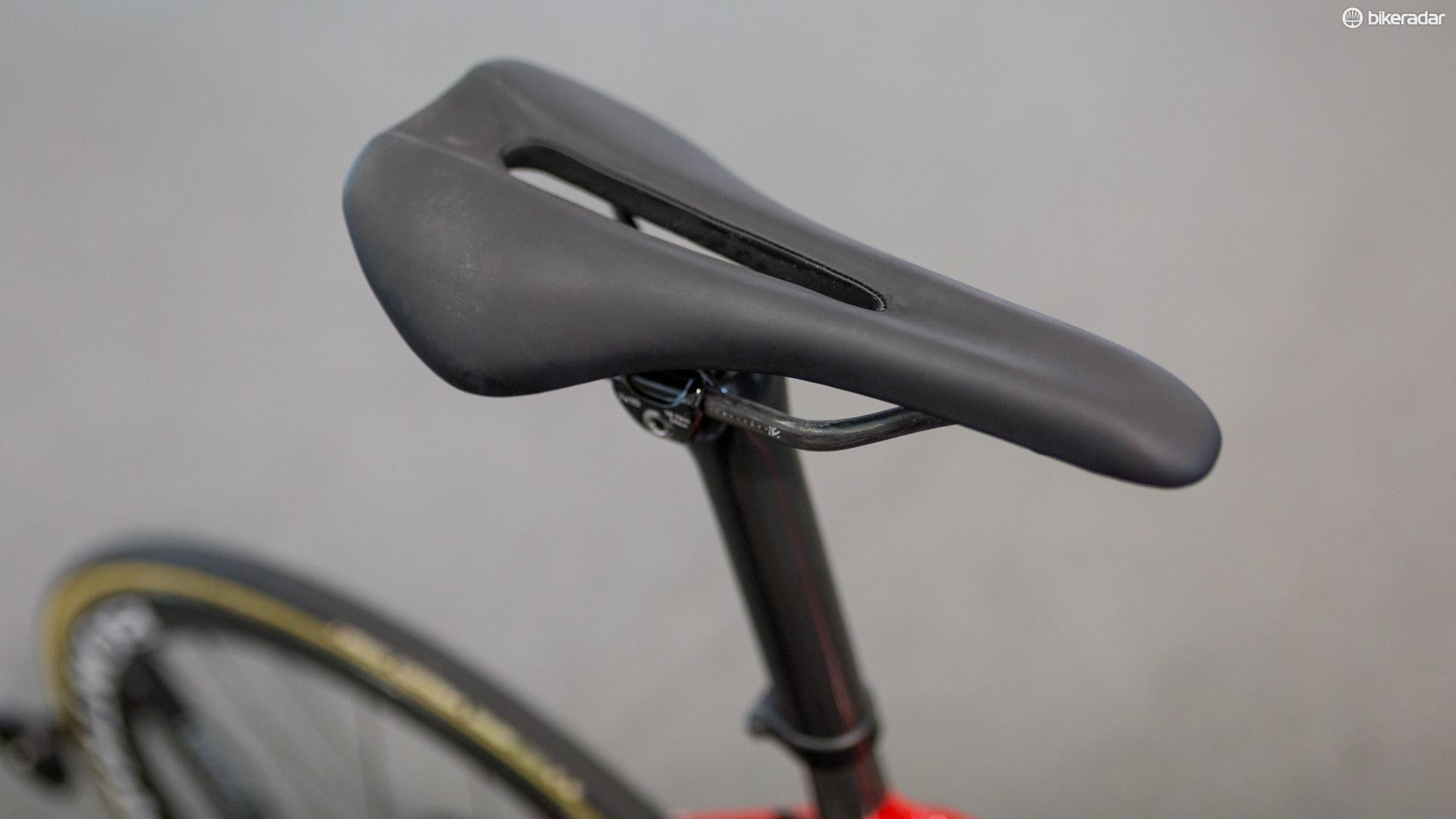 Eg is running a previously unseen prototype Bontrager saddle