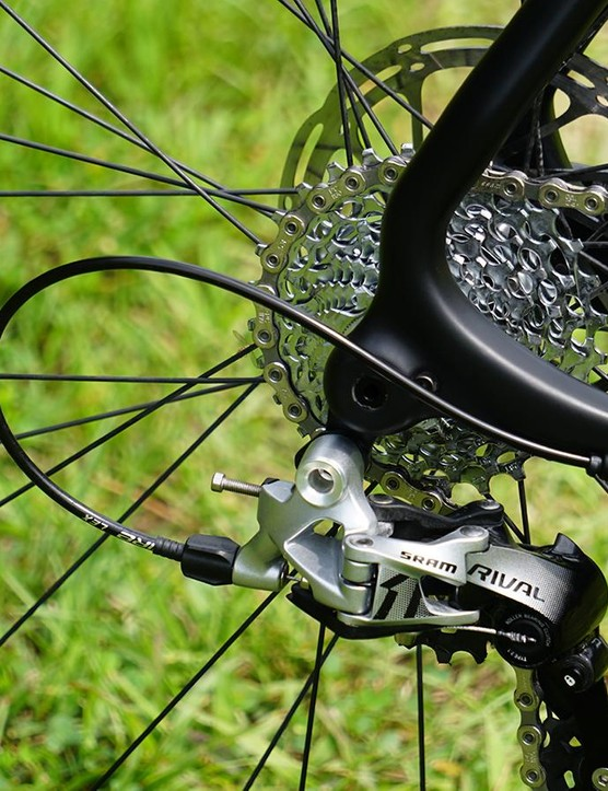 Like most thru-axle disc bikes, the BSBs CNC'd derailleur hanger is built into and reinforced by the thread system