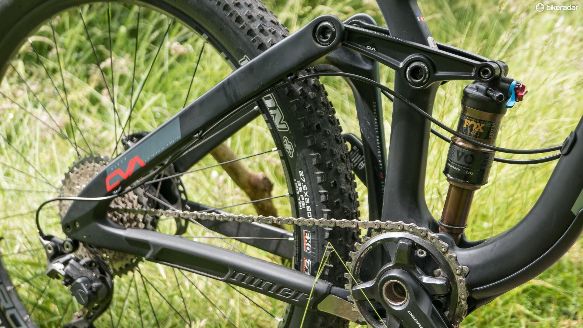 A serious chunky carbon fiber rear triangle gets boost spacing for extra stiffness