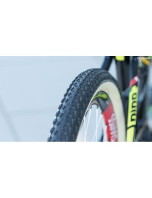 A close look at the tread of the Dugast Fast Bird 50mm tubular. While widths typically vary greatly depending on brand and setup, this was comparable to many 2.1in tires on the market