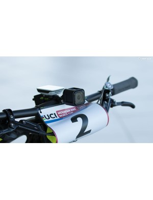 Schurter is sponsored by both Garmin and GoPro. Both devices are turned on during races