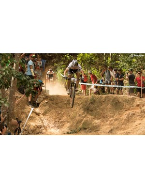 Schurter dropping in from the 'Rodeo Drop' at Cairns World Cup. Such technical features caused riders such as Julien Absalon and Dan McConnell to use dropper seatposts