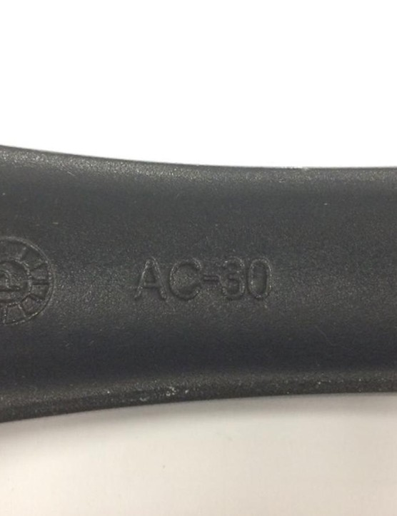'AC-30' is stamped onto the crankarms of the affected models