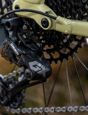 The GX rear mech pushes the chain over the NX cassette