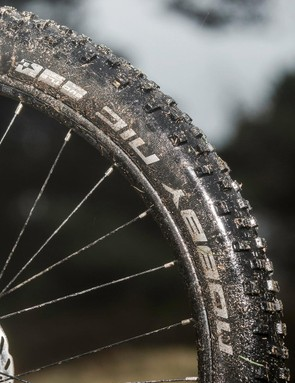 Proper tread on the Nobby Nic tyres means consistent all weather, all surface grip, but rolling speed drops noticeably