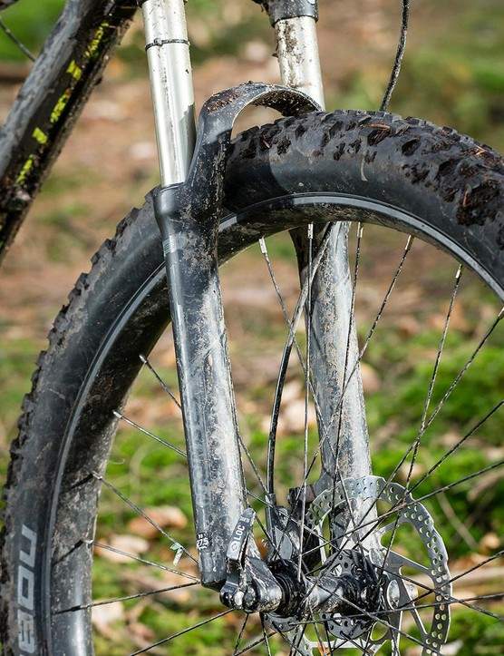 The basic Suntour Raidon fork proved a disaster – though did at least show just how capable this bike is otherwise