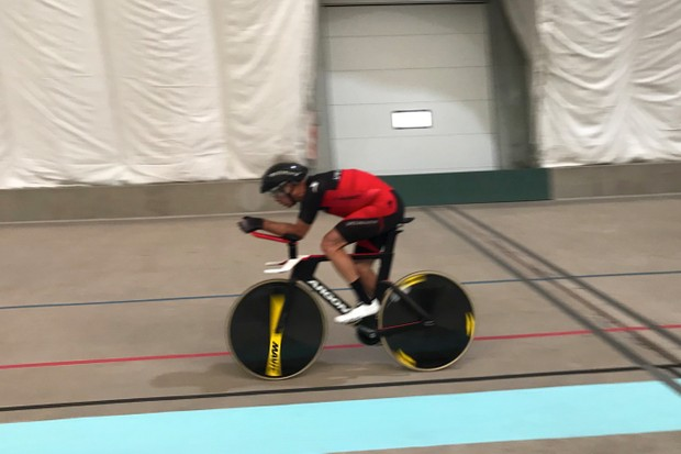Norm Alvis keeps his 53/13 gear turning en route to a new masters world hour record