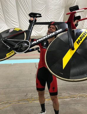 Alvis celebrates his world masters hour record in Colorado Springs