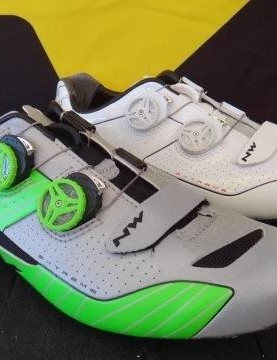 Northwave revamped its Extreme Road shoe with new uppers. The silver on the silver/green is all reflective material. Proprietary ratchets, Microfiber uppers, 235 grams and $375 retail top the features hit-list. The shoes are offered in the colors shown as well as black.