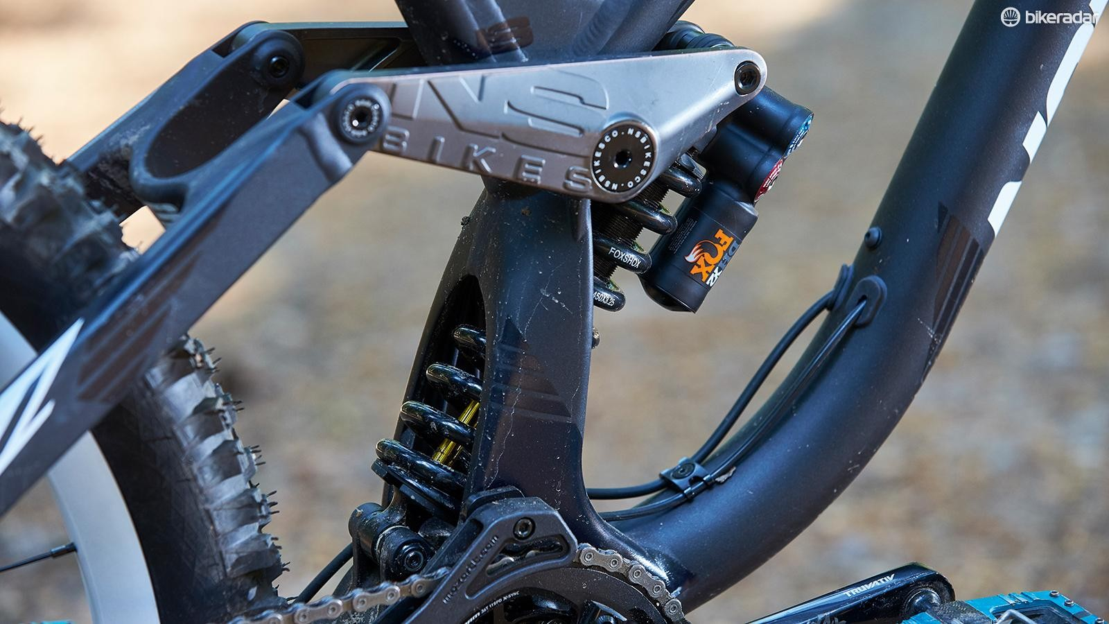 Our test bike had a 'Factory' shock but production models come with less adjustable 'Performance Elite' units