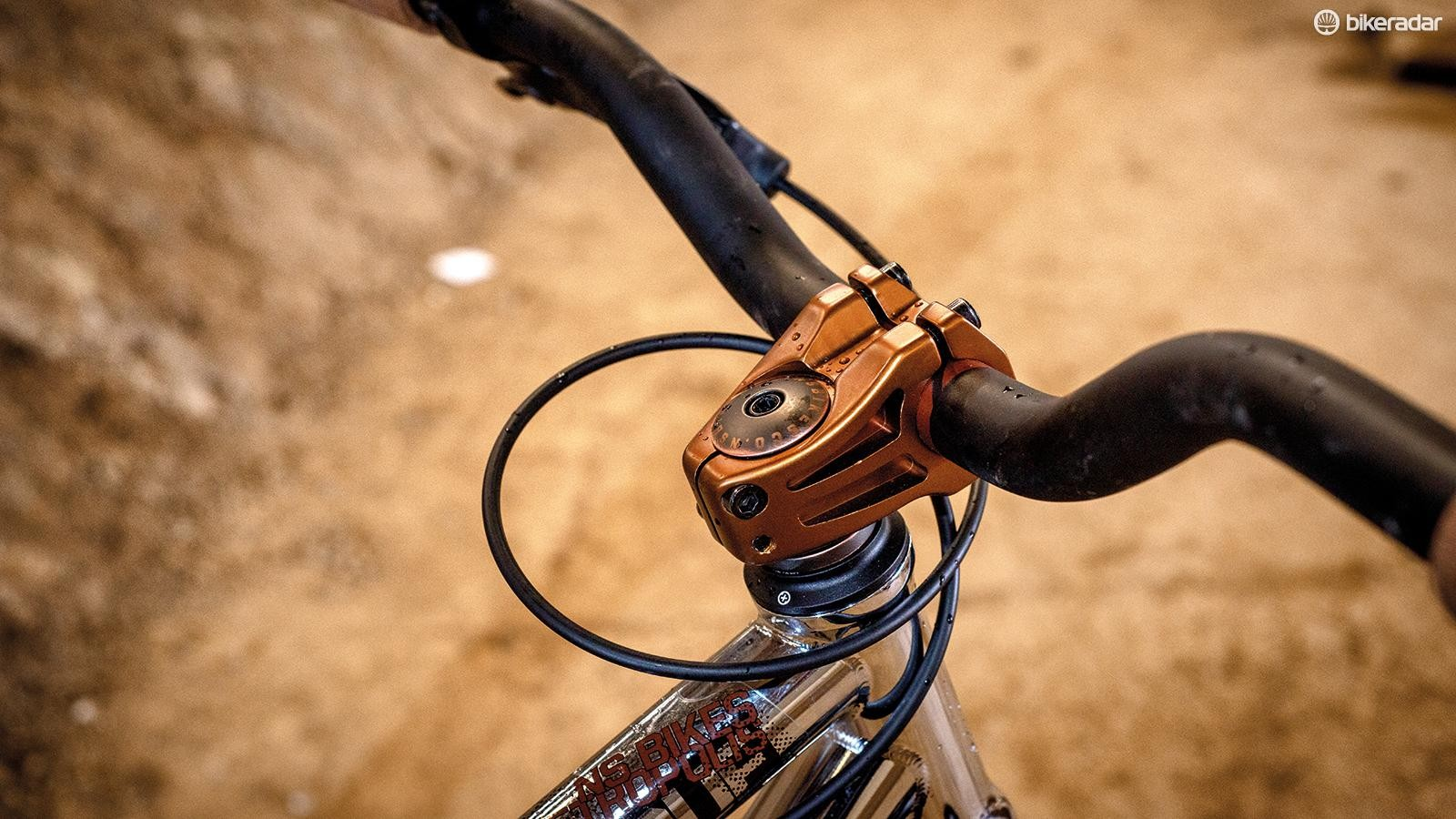 The fashionably high bar takes a while to get used to, coming from a trail bike
