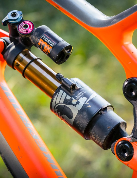 For the first time, Nukeproof have included one bike in each wheelsize that'll come with Fox suspension. Here, the 160mm of rear wheel travel is controlled using the formidable Fox Float X2 shock