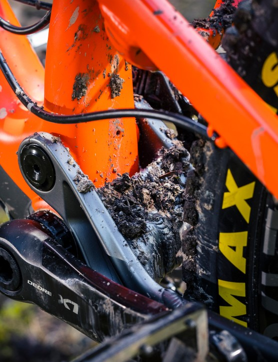 Designing for a 1x only drivetrain has enabled Nukeproof to broaden the main pivot spacing which in turn helps to improve stiffness