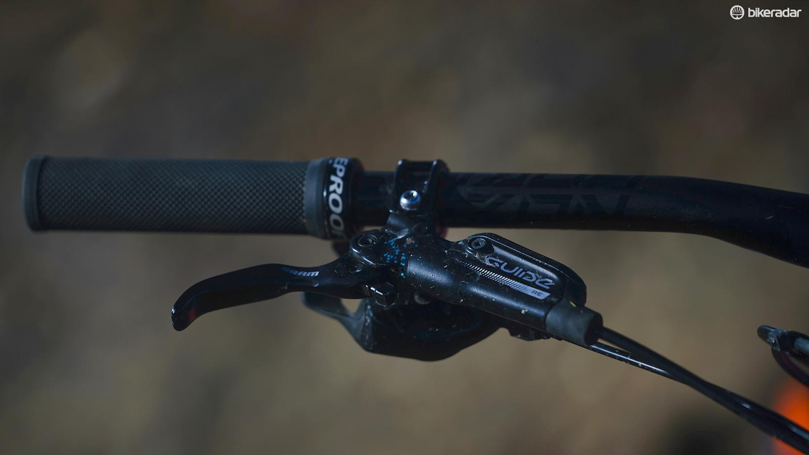 SRAM's Guide RE brakes offer consistent feel and power, even on brutally steep downhill trails