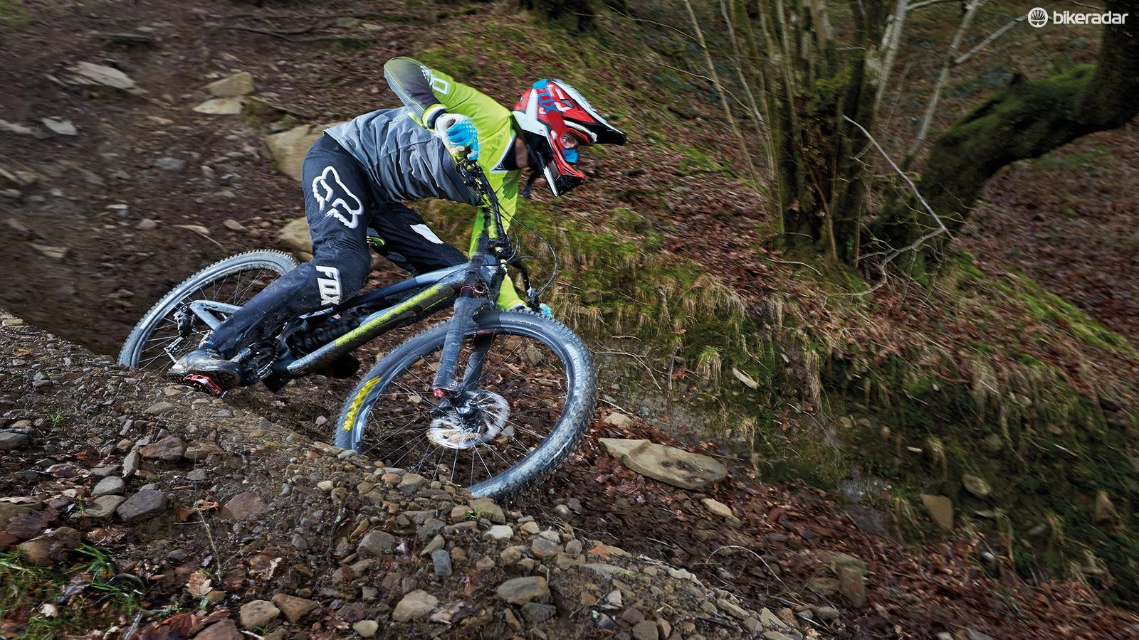 SRAM GX DH, Guide RE brakes and a Charger-damped BoXXer Team fork