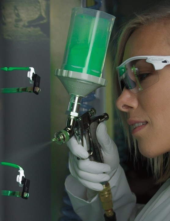 Australia's multi-time world champion rider Caroline Buchanan in an Oakley paint booth