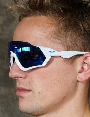 The sunglasses are a similar design to the Oakley Jawbreakers, although the top section of the frame is removed