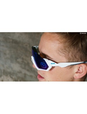 When engaged, the sunglasses are removed away from your face allowing greater ventilation on the inside of the lenses