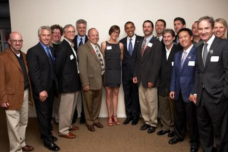 Bike industry muckety-mucks met with Barack Obama (C) in Chicago June 12.