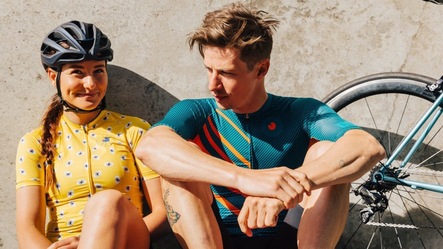The Occhio women's jersey and men's Hold Your Line jersey