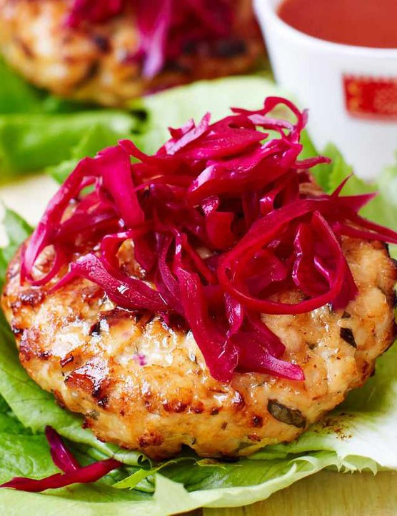 Crunchy, vinegary pickled cabbage works well with the spiced chicken burgers