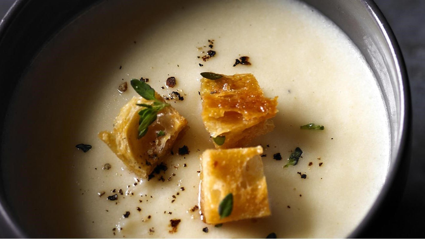 It looks impressive, but it's easy to make — celeriac soup with thyme croutons